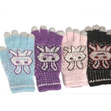 Magic Touch Screen Gloves Smartphone Texting Stretch Adult cute rabbit FIVE FINGER gift(China (Mainland))