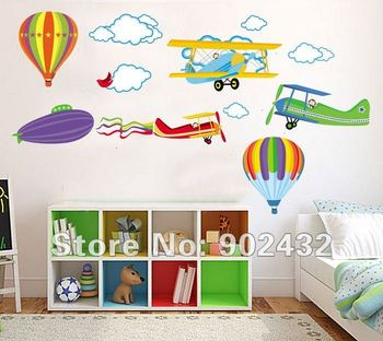 Airplane Hot Air Balloons Wall Stickers Home Decor Cartoon Nursery Kids Room Girls Room Pink Decals Growth Chart Height Measure