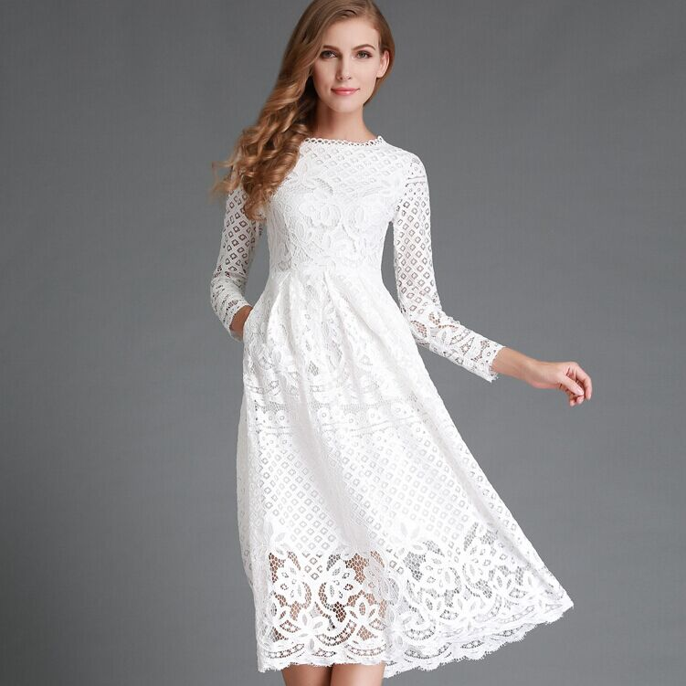 New 2016 Summer Fashion Hollow Out Elegant White Lace Elegant Party Dress High Quality Women Long Sleeve Casual Dresses H016(China (Mainland))