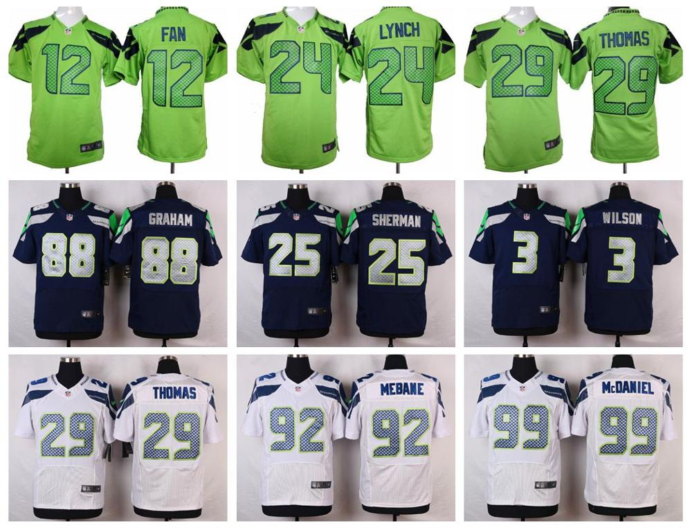 100% Stitiched,Seattle Seahawks,Marshawn Lynch,Richard Sherman,Kam Chancellor,Russell Wilsons,Jimmy Graham,Earl Thomas(China (Mainland))