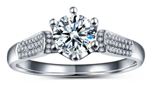 TRANSGEMS 1.5 ct Carat F Colorless Lab Grown Moissanite Wedding Rings Real Diamond Accents Engagement Band Solid 14K White Gold - TransGems store