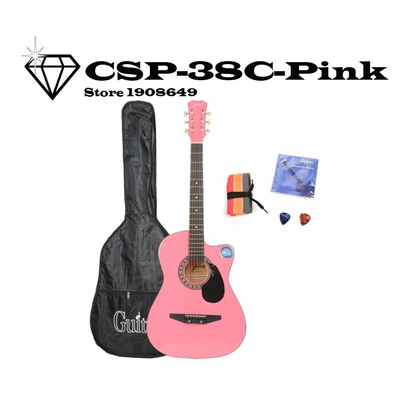 Фотография Fashion CSP38C 38 Basswood Cutaway Acoustic Guitar Pink with Bag Strap Pick
