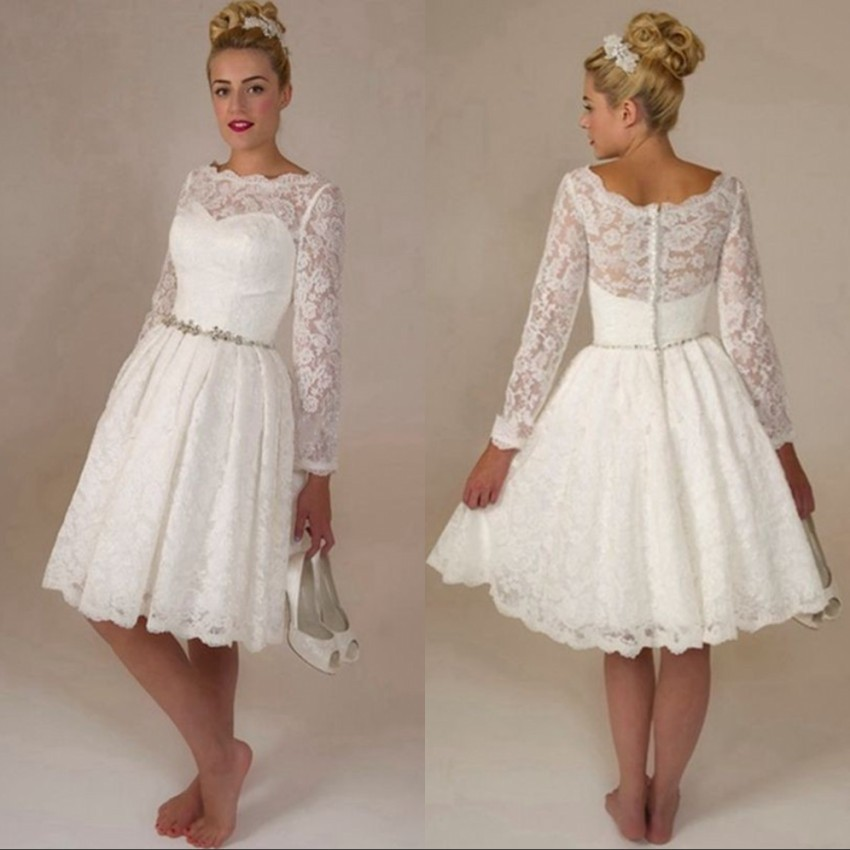 Vestido de noiva curto picture more detailed picture for Long sleeve lace wedding dresses for sale
