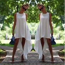 Women Clothing 2015 Summer Thin Girl Fashion Round White Neck Sleeveless Pregnant woman Dress Irregular Long Dress for Party