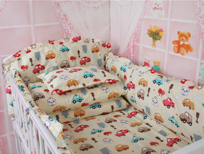 5 pcs/set Cute Car Baby Bedding Set include Baby Bed Bumper Super Good Quality Cot Bedding for Boy Sports Crib Bedding<br><br>Aliexpress