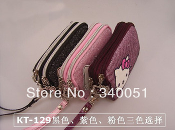 Brand PU Peather Wrist Coin Purse Hello Kitty Women Wallet With Hand strap (1 piece)+ Free Shipping