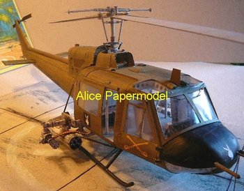 [Alice papermodel] Long 60CM 1:33 US helicopter Gunship model Bell UH-1B Iroquois aircraft warplane airplane models