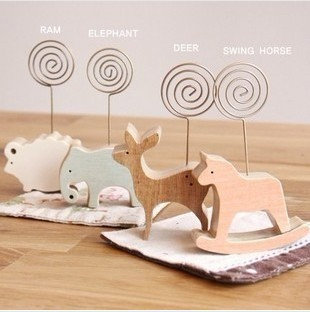 Free shipping 8pcs/set Funny Simple animal wooden wool note photo clip holder card stock block notes school supplier/diy gift(China (Mainland))