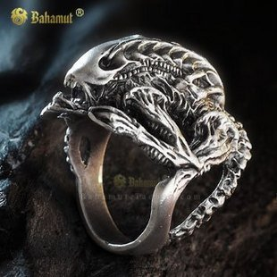 Alien vs Predator Ring AVP Hibernation Alien rings Plated Silver Rings For Men