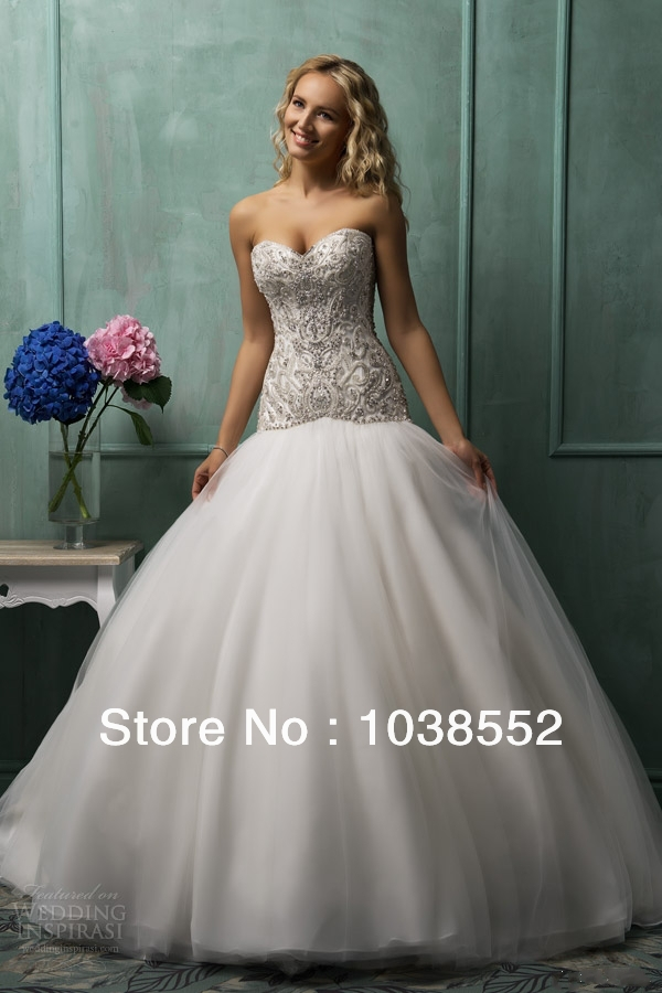 2014 beading crystal sweetheart neckline corset wedding for Sweetheart neckline drop waist wedding dress