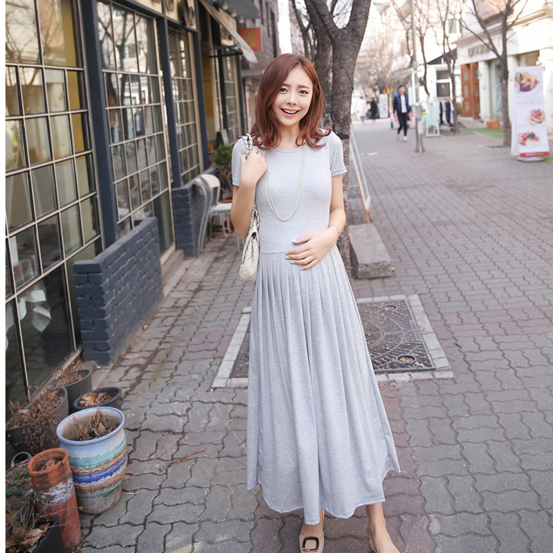 226# Length > 120 CM Design Maternity Long Dress Summer Cotton Clothes For Pregnant Women 2015 Pleated Style Pregnancy Clothing(China (Mainland))