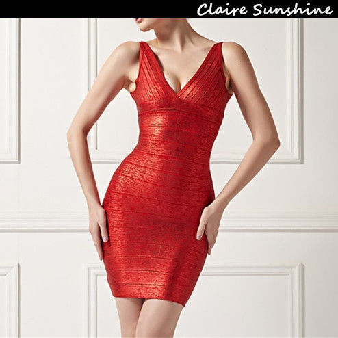 2015 None Time-limited Rushed Party Dresses Vestidos Femininos High Quality Free Shipping Summer Sexy Foil V Neck Bandage DressОдежда и ак�е��уары<br><br><br>Aliexpress