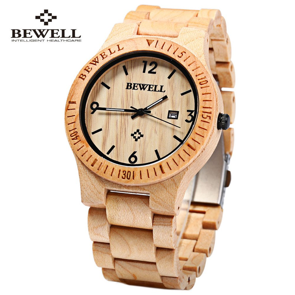 Bewell ZS W086B Wood Men Watch Analog Quartz Movement Date Display