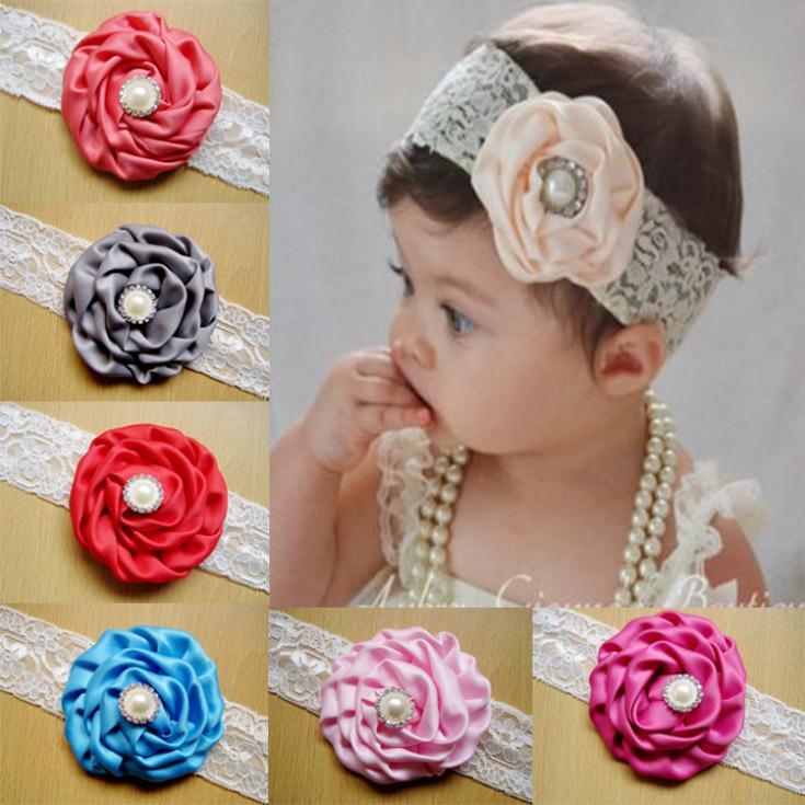 2014 bebé niño diadema flores de tela de satén rosas de la cinta rhinestone venda de las muchachas flores para accesorios para e.