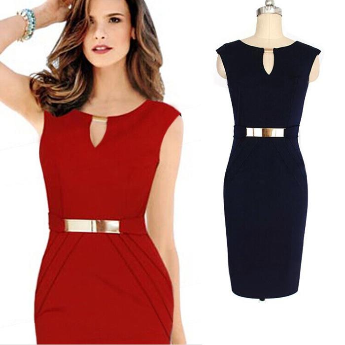 2015 Sexy Women Casual Dress Sleeveless Slim Fashion Bodycon Evening Party Dress Vestidos Pure Red Black Plus Size XXL 5149(China (Mainland))