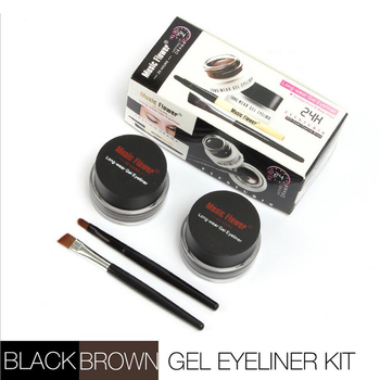 Rosalind Eyes Makeup 2 in 1 Black + Brown Colors Long-Wear Gel Eyeliner with Small Brushes Perfect Cosmetic Brand Music Flower