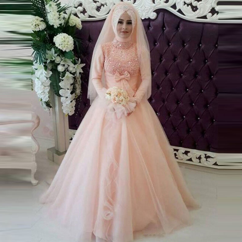 Buy romantic tulle long sleeve muslim for Light pink wedding guest dress
