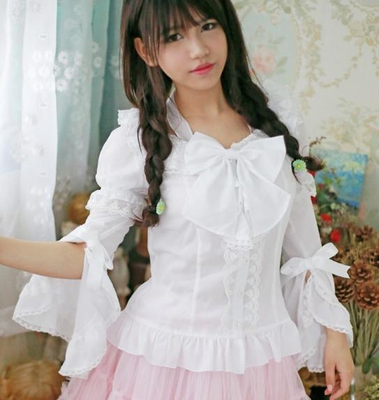 Princess sweet lolita shirt Lace shirt spring women's plus size lace top long-sleeve gentlewoman female shirt