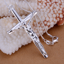 Top quality Silver Plated & Stamped 925 neckalce men's jewelry cross pendant necklace chain vintage accessories choker fashion(Hong Kong)