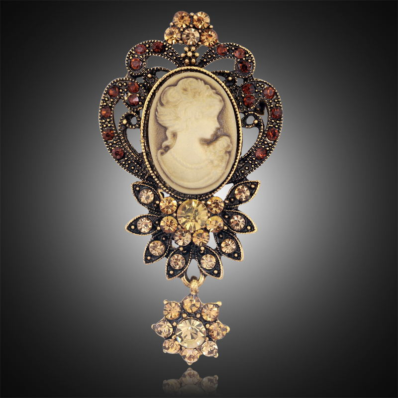 Fashion Antique Gold Silver Vintage Brooch Pins Female Brand Jewelry Queen Cameo Brooches Rhinestone For Women Christmas Gift(China (Mainland))