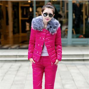 New Hot Fashion Women Elegant Slim Winter Warm Down Parkas Suit Solid Pattern Fur Collar Ladies Charming Thick Coat(China (Mainland))
