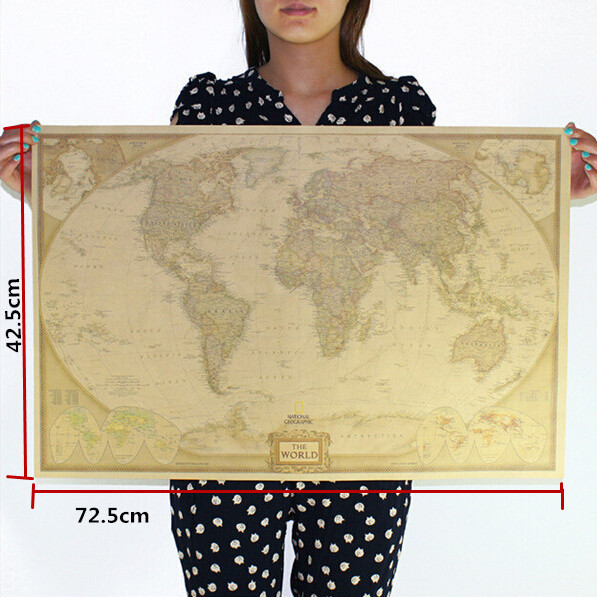 Large Vintage World Map Home Decoration Detailed Antique Poster Wall Chart Retro Paper Matte Kraft Paper