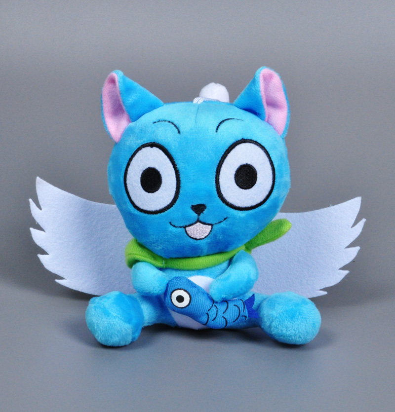 Anime Fairy Tail Happy hold fish Cartoon Naz cat Lucy Habib stuffed doll kawaii blue cat cosplay kids toys super wings plush toy(China (Mainland))