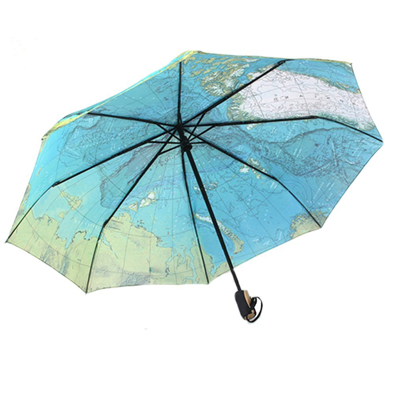 Fashion Big Size Women Men Map Umbrella Automatic Folding Rain Umbrella Compact Windproof Strong Anti UV Sun Umbrella 105CM(China (Mainland))