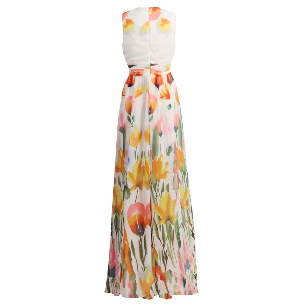 Summer dress Fashion Vestidos Floral Print Long Maxi Dress Deep V Neck Sleeveless Women Sexy Casual Dress Plus Size Vestidos(China (Mainland))