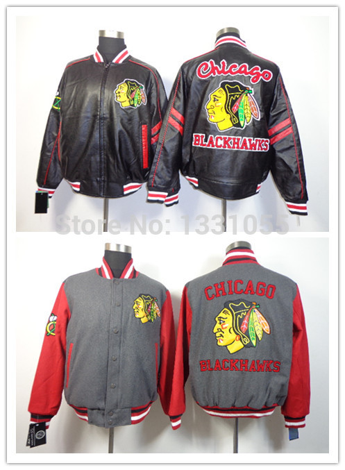 Chicago Blackhawks Gray Black New Coats Stitched Mens Cotton Winter Ice Hockey Jackets Outerwear Embroidery Logos<br><br>Aliexpress