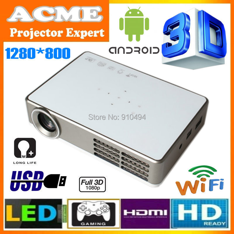 Free shipping built-in android 4.2 wifi full HD 1080p mini LED DLP active shutter 3D projector projetor,700lumens1280x800pixels(China (Mainland))