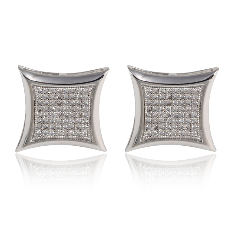 New Exquisite Man women Stud Earrings 18k white yellow gold filled Cubic Zircon Micro Paved square Earrings Studs(Hong Kong)