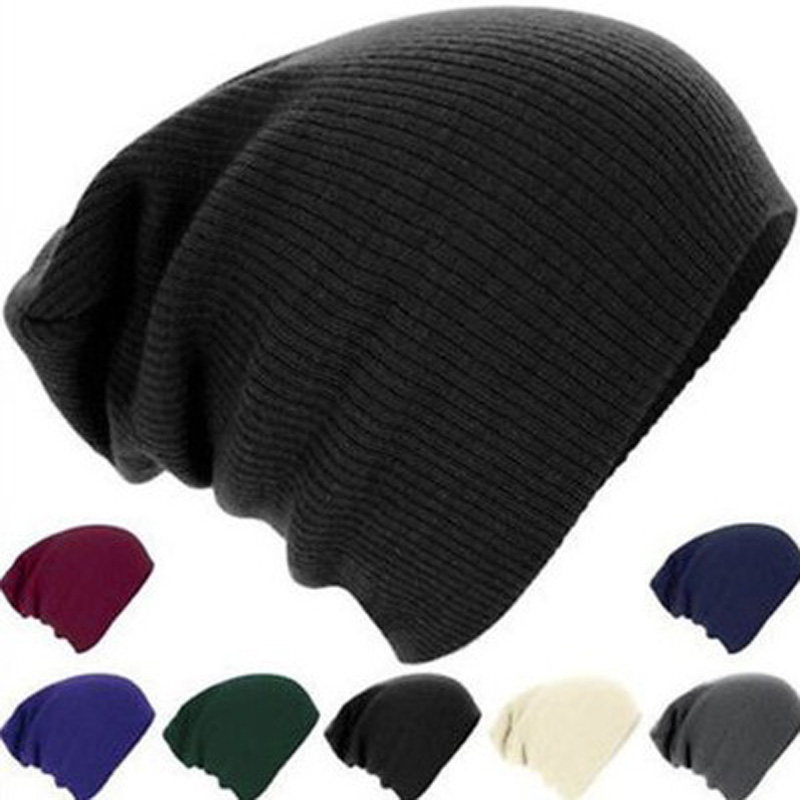 Autumn Fashion Knitted Winter Cap Casual Beanies for Men Womens Hats Solid Color Hip-hop Slouchy Skullies Bonnets Unisex Gorro(China (Mainland))