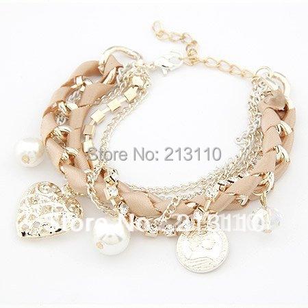 Fashion Pulsera Brazalete New Love Heart Gold Plated Charm Bracelets Women Pulseiras Femininas Pulseras Mujer Bijoux Bijuteria