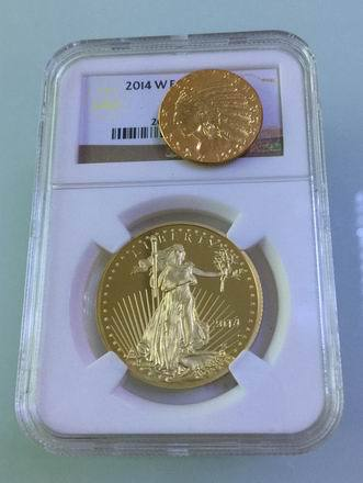 Verified 2014 one Ounce $50 American Eagle 999 fine gold coins 2pcs(China (Mainland))