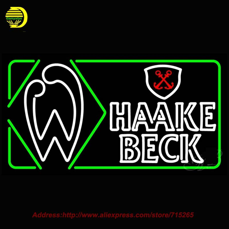 Haake Becks Beer Light NEON SIGN Bright Handcrafted Recreation Room Window Neon Bulb BAr sign Glass Tube Affiche Neon T9 37X20(China (Mainland))