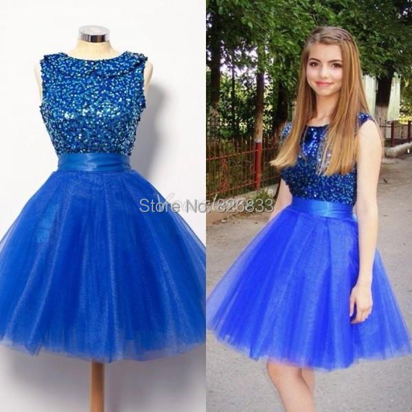 Aliexpress.com Comprar Estilo del vestido de bola azul lentejuelas pesados corto moldeado vestido de fiesta del partido de coctel vestidos niñas vestidos