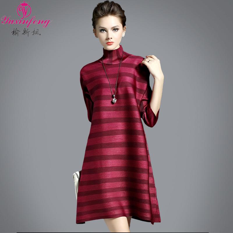 Europe Station 2016 Striped Dress Temperament Ladies Turtleneck Dress A-Line Thin loose Seven Sleeve Short Dress Fashion