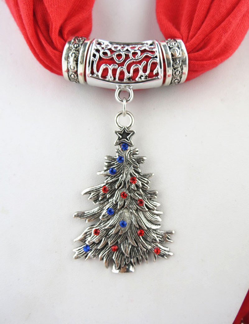 Women Winter DIY Europe Christmas Tree Pendant Scarf with Tassel Rhinestone Charm Necklace Jewelry Scarves Xmas Holiday Ornament