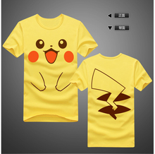 Cute Pikachu T-Shirt Anime Pokemon Cotton  man and woman Short Sleeve Tops Tees