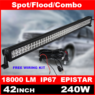 42 Inch 240W LED Light Bar + Wiring Kit for Off Road Indicators Work Driving Offroad Boat Car Truck 4x4 SUV ATV Spot Flood Combo(China (Mainland))