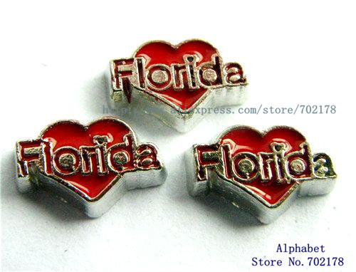 wholesales 10pcs red DIY floating locket charms Florida heart FC112 fit living memory locket free shipping(China (Mainland))