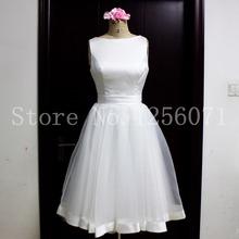 Robe De Mariage A Line Short Wedding Dress 2016 Summer Organza Backless Satin Wedding Bridal Gowns Knee Length(China (Mainland))