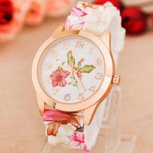 New High Quality Quartz watch Wrist Watches Women Girl Watch top brand luxury Silicone Printed Flower Causal Reloj Free shipping(China (Mainland))