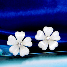 Hot Selling 3 Colors Pink White Black Hot Fashion Women's Party crystal Flower gold Plated Stud earrings for women(China (Mainland))