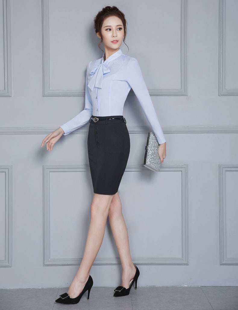 Formal OL Styles Professional Spring Autumn Female Work Suits With 2 Piece Skirt And Blouses Ladies Shirts Tops Beauty Salon Set