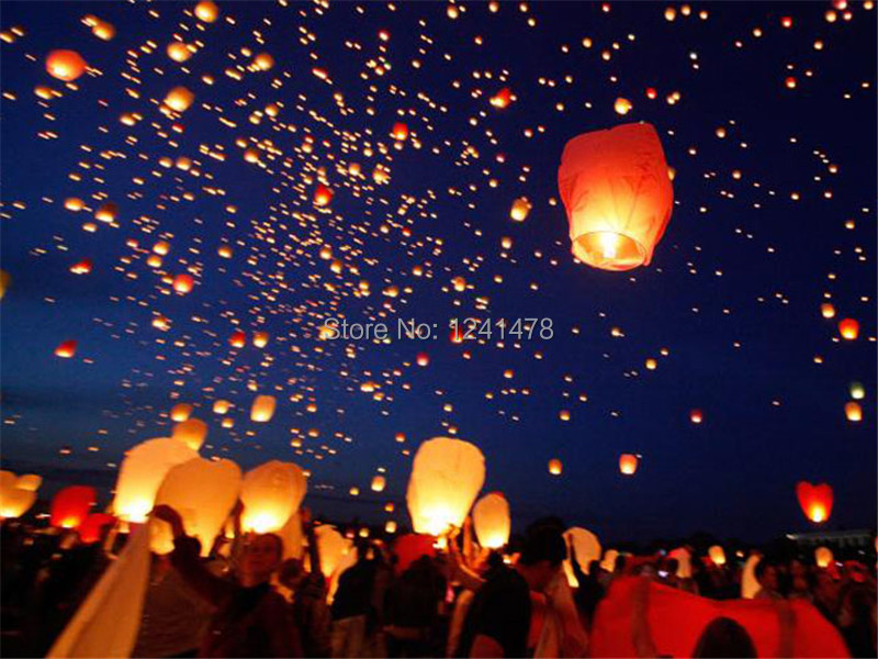 Hot sale 50pcs/pack Eco-friendly diamond shape sky lantern/Wish lantern with metal free offer mixed colors 100%biodegradable(China (Mainland))