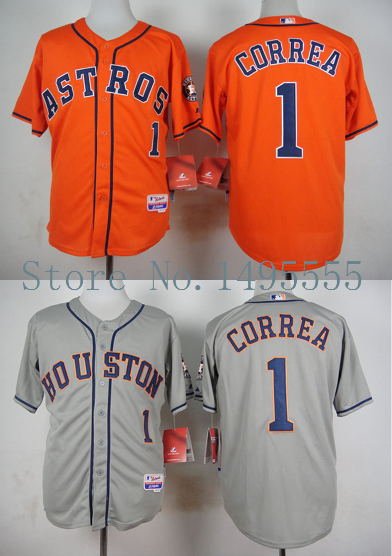 Houston Astros #1 Carlos Correa Authentic Baseball Jerseys Embroidery stitched onfield Home Color W/50th Patch Top Quality(China (Mainland))