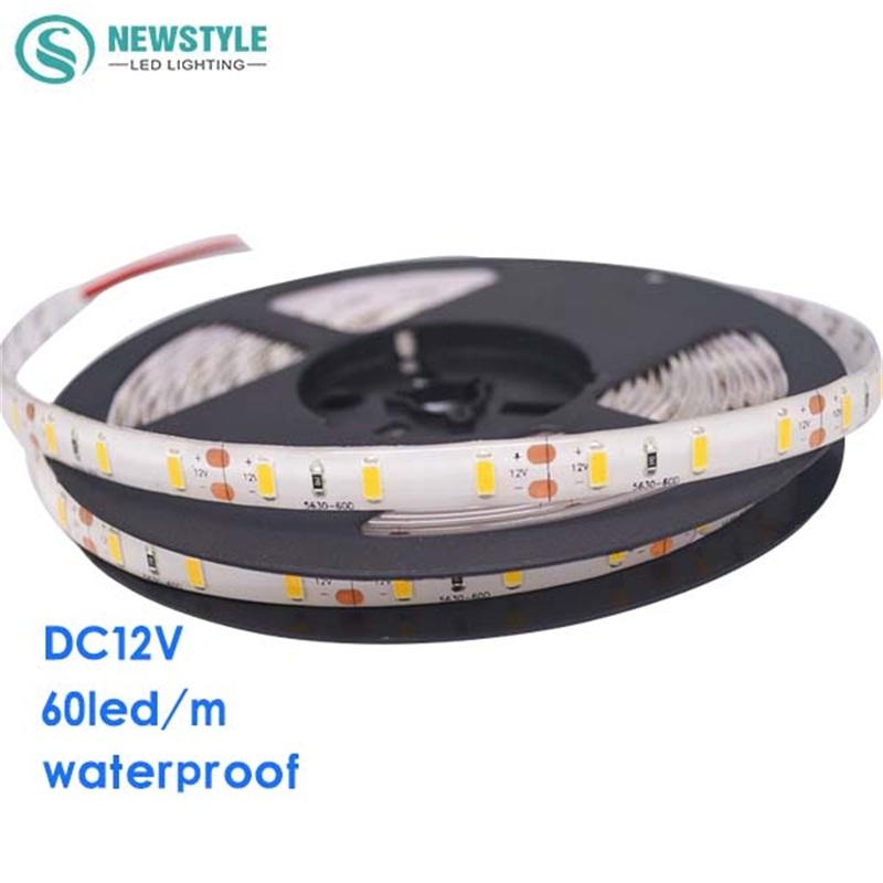 Super Bright LED Strip Light 5630 5M 300LED Waterproof DC12V Flexible LED Strip,60LED/m, Warm white, White Free Shipping(China (Mainland))