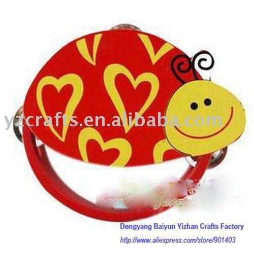Wooden rattles / wooden tambourine rattles / cute animal rattle